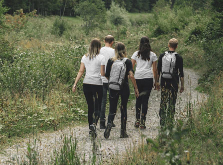 Team beim Wandern zum gemeinsamen Ziel